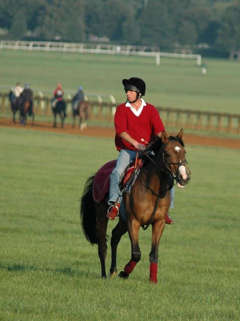 William Jarvis riding his hack on the Heath in Newmarket